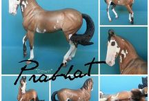 Marwari / Stablemate scale Marwari stallion sculpted by Sarah Rose www.rosehorse.com  Painted by various artists