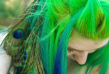 Cheveux aux nuances vertes
