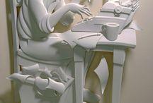 White Paper Board Sculpture