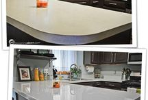 Painted kitchen bench tops