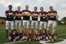Senior picture with football players