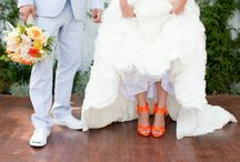 Orange shoes bride
