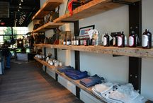 The Sporting District   Commercial Design / This rustic store location features our Brigantine Plank on the floors. The unique addition of reclaimed long leaf pine adds a special look to the shop.