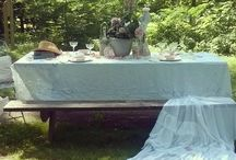 ~Al Fresco Table Settings~ / Table settings created by me with vintage china, linens, and fresh flowers..