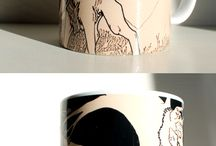 ¤Mugs / Some mugs from my Zazzle store,  www.zazzle.com/millakahlosdesigns #Wolves #wolf #dog #canines #birds #animals #merchandise #products #art #illustration #mugs #cups #zazzle