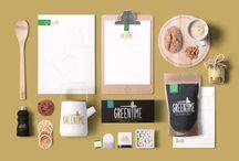 greentime mockups / Trabajando con muckups para la universidad en la clase de taller, acá mostraré propuestas para una tetería llamada Greentime. Logotipo diseñado por mí.
