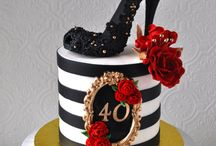 40th Birthday Cake, cupcakes and cookies