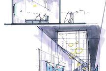 Dibujo, acuarelas, arquitectura