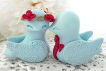 Aqua and Red Love Bird Wedding