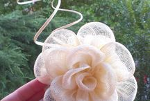 Sinamay and ribbon flowers and decorations