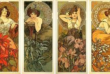 """Art/Art Nouveau / Art Nouveau is an international philosophy and style of art, architecture and applied art-especially the decorative arts-that were most popular during 1890–1910.  The name """"Art Nouveau"""" is French for """"new art"""".  The style was influenced strongly by Czech artist Alphonse Mucha by a lithographed poster in January 1895 in Paris.  Art Nouveau was also a style of distinct individuals such as Gustav Klimt, Charles Rennie Mackintosh, Alphonse Mucha, René Lalique, Antoni Gaudí and Louis Comfort Tiffany. / by Mary Anne Wallman"""