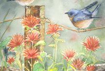 pájaros en alambre