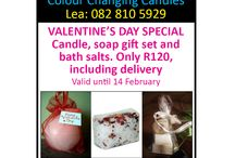Valentines Day 2014 specials / Get a colour changing candle, soap gift set and bath salts for only R120