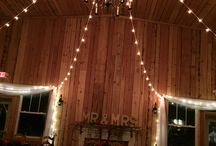 Romantic Barn Lighting at Abbey Farms / Enjoy the twinkle of the lights under 100 year old reclaimed barn wood!