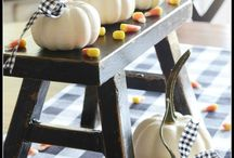 Decor - Fall / Fall decor.  Pumpkins - table centerpieces - tablescapes - outside.