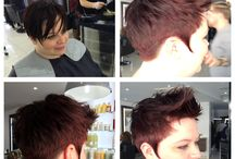 In salon work / Some of the great work created by our team in salon. A variety of looks from short sharp shapes to dramatic colour changes and elegant long hair work