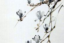 sumi-e / Japans en Chinees schilderen; zwarte inkt-schilderen; zen-schilderen