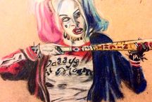 Harley Quinn and what I have gathered and done. / A board consisting of pictures and drawings I have done of her.