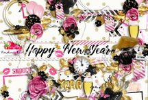 Happy New Year! / A fun, feminine New Year's themed scrapbook collection.