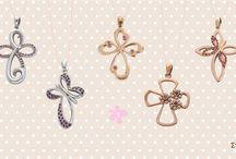 Crosses crosses / Crosses for baptism made of  K14 or K18 gold sapphires, brilliant cut diamonds or semiprecious stones
