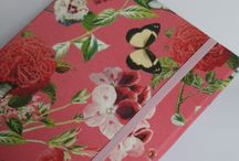 "Spoonflower Fabrics / Notizbuch A5 ""Butterfly&Blossom/Strawberry"" www.notecouture.de Stoff madame_floralie"