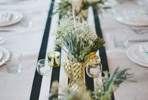black white natural party decor