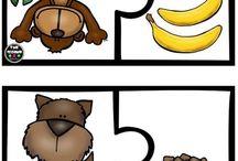 Okul öncesi hayvan-yiyecek eşleştirme kartları