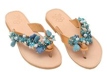 "Leather Handmade Ethnic Sandals / Flip Flops ""Art 3"" col. Natural / Turquoise"
