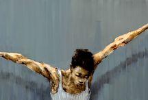 Gabriel Schmitz / El traç de l'artista és ferm però inquiet, jugant amb veladures i clarobscurs. Contrasta amb gran sensibilitat els negres més profunds amb vermells de gran intensitat. En els seus fons sovint ens obsequia amb una gama elegant i serena de blaus.  Tot plegat, una tècnica de gran força i personalitat que dóna a les seves peces un segell inconfusible.