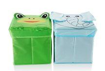 Sazmo eBaby Kids Storage Box with Lid / Bright kids toy storage boxes with lids x 2 | Toy storage bins for kids | Fabric baby storage cubes | Soft foldable toy box fabric bin | Easy to store | By Sazmo eBaby