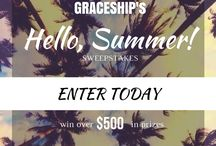 Hello, Summer! Sweepstakes / GRACESHIP is giving away an amazing summer prize package! Sign up on our website for your chance to win $800 in this season's essentials!