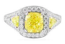 Yellow Diamond Engagement Ring / Fancy Yellow diamond engagement rings