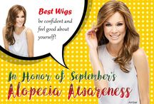 """In Honor of September's Alopecia Awareness : Best Wigs – be confident and feel good about yourself! / Alopecia Areata is a type of hair loss that occurs when your immune system mistakenly attacks hair follicles, which is where the hair growth begins. The damage to the follicle is usually not permanent. Experts do not know why the immune system attacks the follicles. Signs of Alopecia: patchy hair loss, """"exclamation mark"""" hairs, widespread hair loss, and nail problems."""