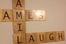 Family Room Ideas.   Den ideas.  Great Room Ideas / Scrabble Wall!     Designed by #pattystagr www.homestagingbypatricia.com