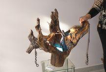 Principium / Sculpture métal bois décoration luminaires