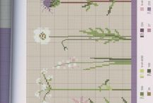 hearts + trees  +some flowers / cross stitch