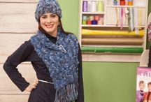 cachecol e gorro de tricô