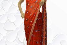 Phulkari Saree / Semi-Chiffon Phulkari Work Saree