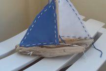vela con legno del mare