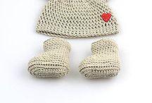 Háčkované súpravy, papučky, čiapky pre novorodencov - jar, jeseň / Jarné a jesenné vecičky pre novorodencov z prírodných materiálov