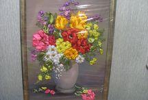 картины для интерьера из лент и не только / прекрасный подарок и интерьерная композиция для помещений