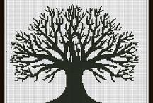 agac -manzara kanavice sablonlari /trees -views croas stitch c4afts