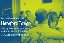 Tango Flyers / Argentine tango dancer, teacher and DJ Bärbel Rücker - tango activities like regular tango classes, workshops, tango DJ seminars in the UK and the rest of Europe. Own designs of advertising material.