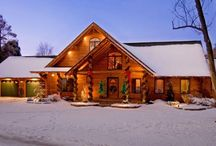 Log Home Christmas and Snow