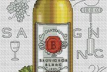 Křížková výšivka vína