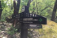 Bring It On Trail Run Road Sign 9 & Information Sign / 산성탐방지원센터 이정표와 북한산성선정비군, 북한승도절목, 중흥사권역 안내판 (Road sign to Sanseong Information Center and Seon-jeong-bi-gun of Bukhansanseong, Bukhan-seung-do-mok and Jung-hung-sa District Sign) GPS: 37.645256  126.973503 고도(Altitude): 350m
