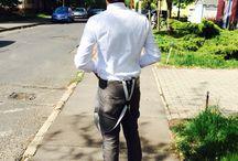 Men style / Hat..white shirt..suspenders..grey pants...sued shoe..