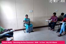 Portrait Drawing Sessions / Portrait Drawing Study Sessions - Sketching Live Characters - for B.A.M - 1st Semester - July 2014 batch