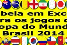 Copa do Mundo Brasil 2014 - World Cup Brazil 2014 / Tabela dos jogos da Copa em Excel para você anotar os resultados dos jogos. Table of World Cup matches in Excel for you to write down all the scores.