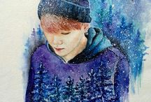watercolor fanart kpop